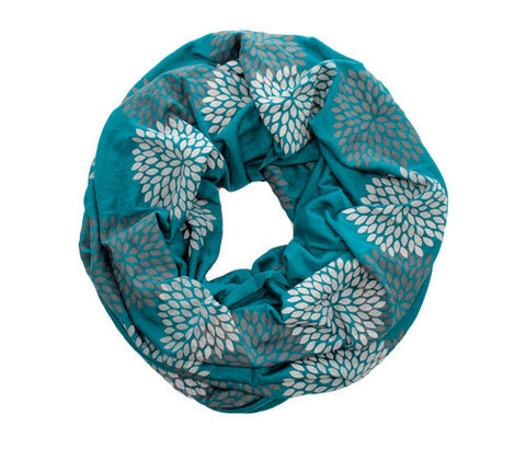 Turquoise Screen Printed Infinity Scarf