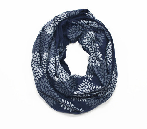 Navy Screen Printed Infinity Scarf