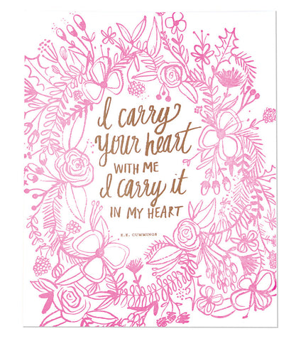 Carry Your Heart Letterpress Print