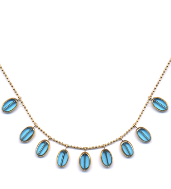 Sky Blue Oval Drops Necklace