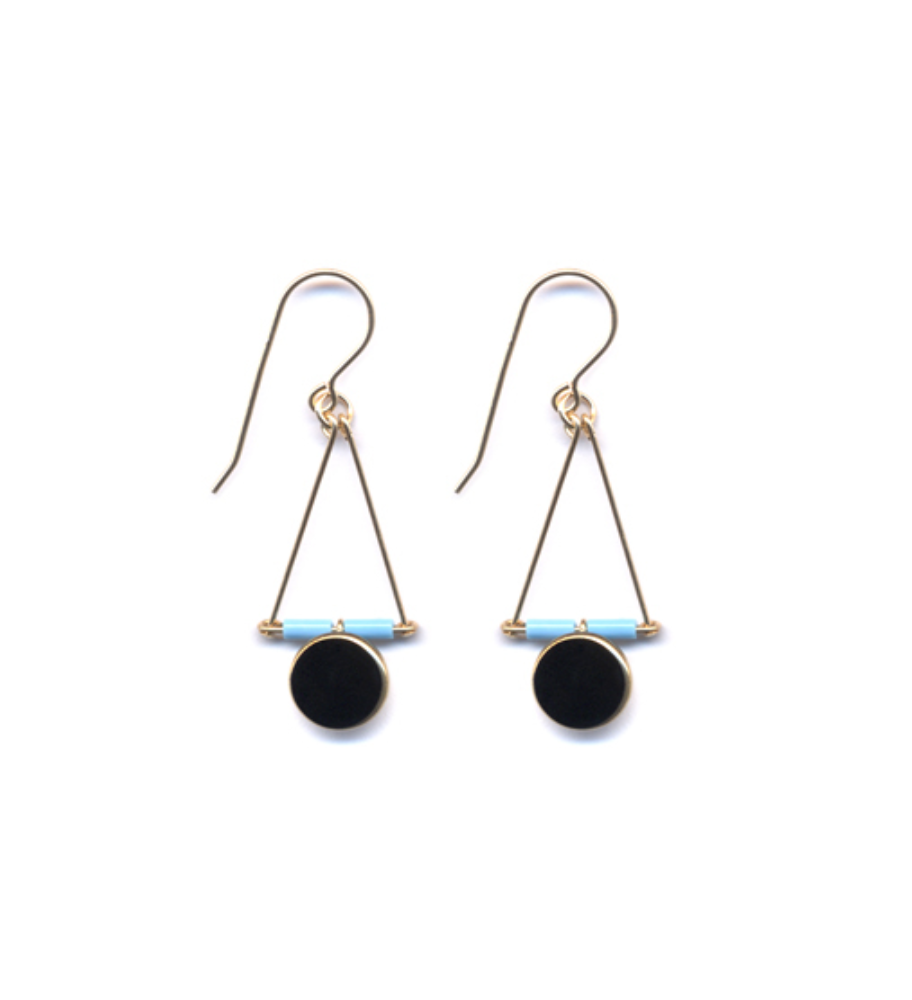 Blue and Black Triangle Drop Earrings