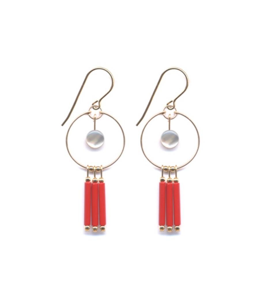 Red and Mother of Pearl Fringe Earrings
