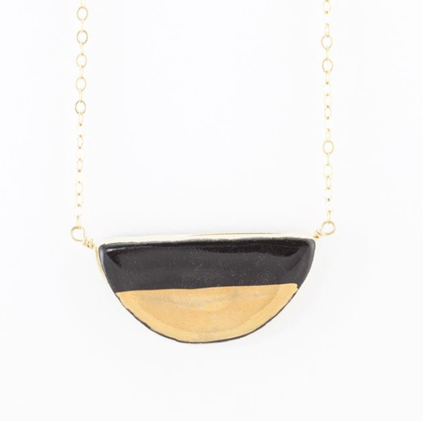 Large Half Pebble Black and Gold Necklace