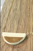 Large Half Pebble White and Gold Necklace