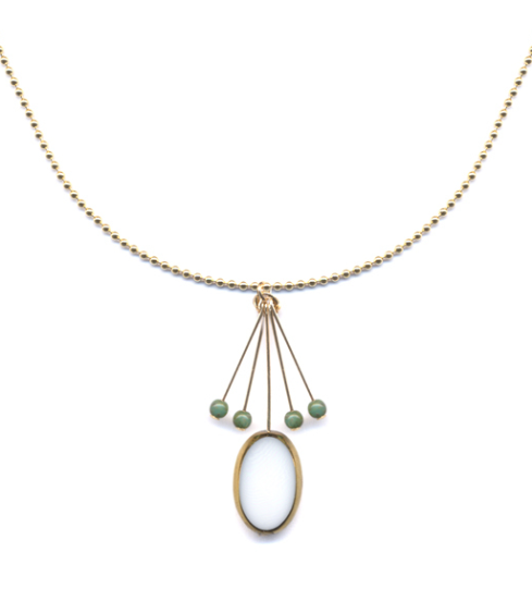 White Oval with Green Fringe Necklace