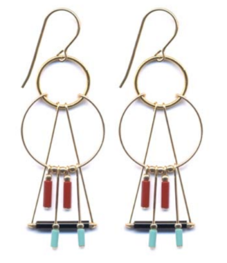 Layered Fringe Triangle Hoop Earrings