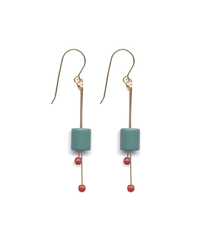 Turquoise Bud with Red Detail Earrings