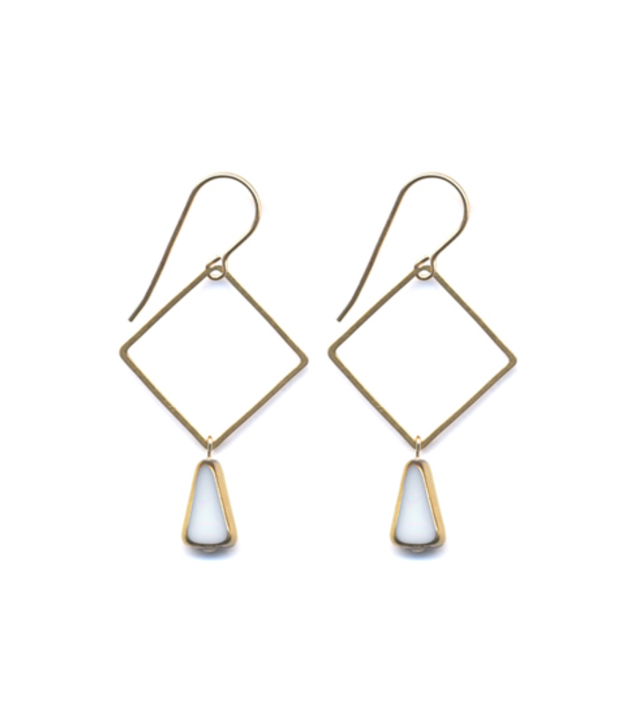 Brass Square White Drop Earrings