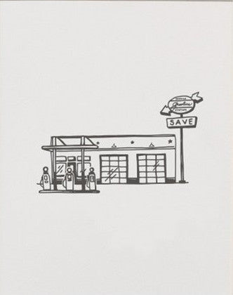 Service Station Letterpress Art Print