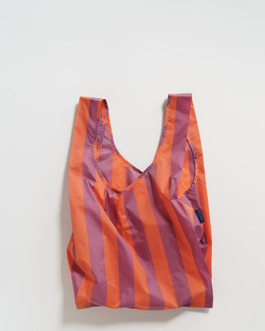 Baggu Reusable Bag - Stripe - Orange and Mauve