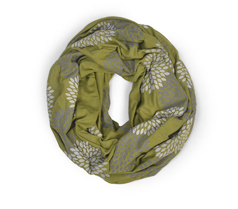Olive Screen Printed Infinity Scarf