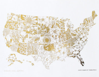 Gold Foil State Flower Collection Print
