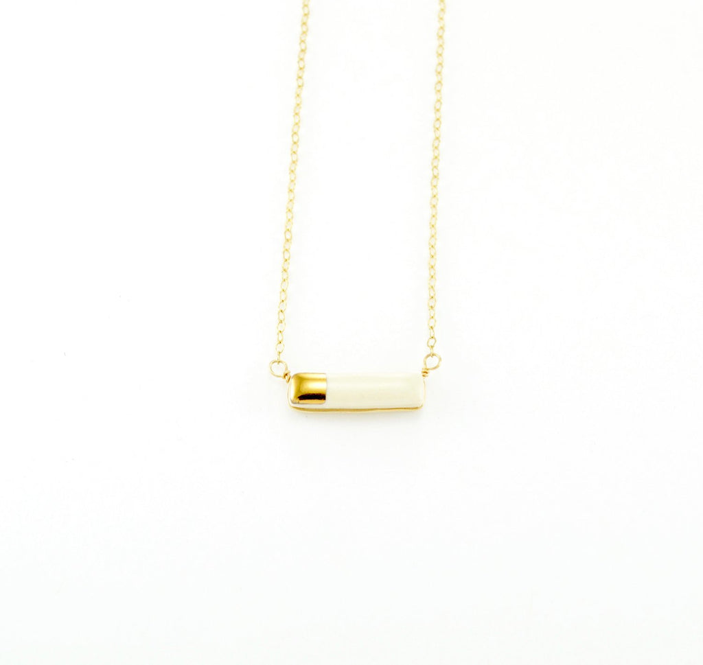 Teeny Reed Gold and White Necklace