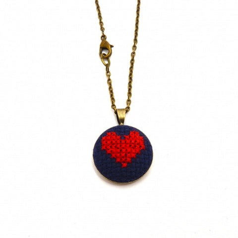 Petite Heart Necklace - Navy/Red