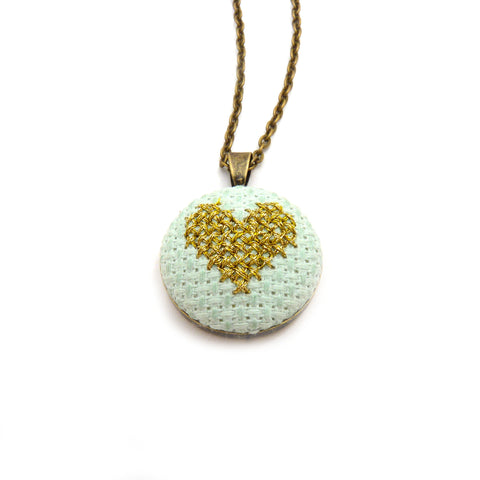 Petite Heart Necklace - Mint/Gold