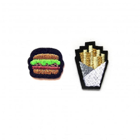 Hamburger and Fries Patch Set
