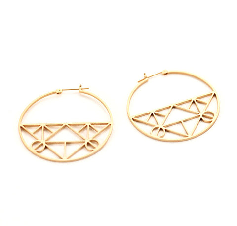 Geometric Hoops Earrings - Gold