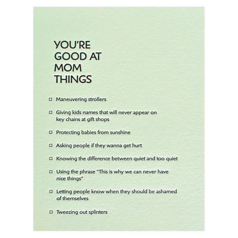 Good at Mom Things Letterpress Card
