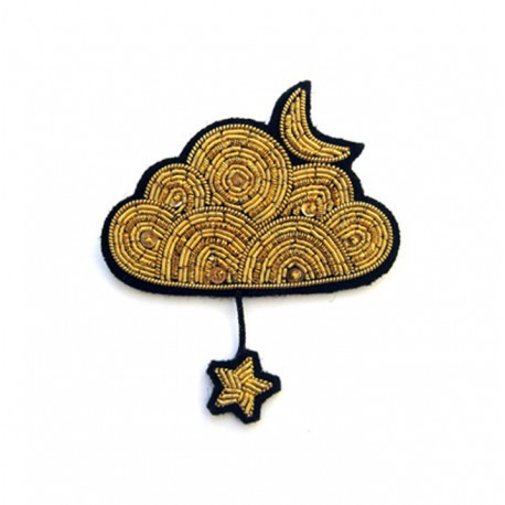 Gold Cloud with Moon and Stars Pin