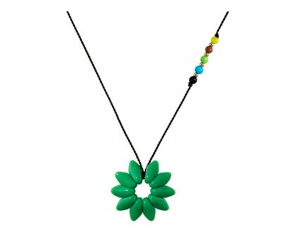 Green Flower Glass Necklace
