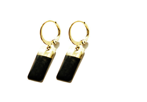 Brass Geometric Earrings - Black