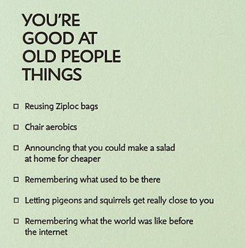 Old People Things Letterpress Card
