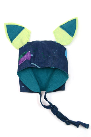Bonnet with Removable Ears - Nani Iro Blue