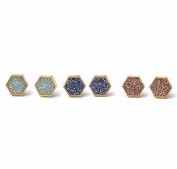 Brass and Glitter Hex Studs - Mint
