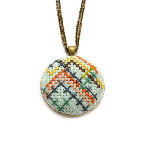 Stitched Geometric Necklace