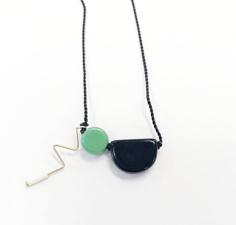 Black Boat Squiggle Necklace