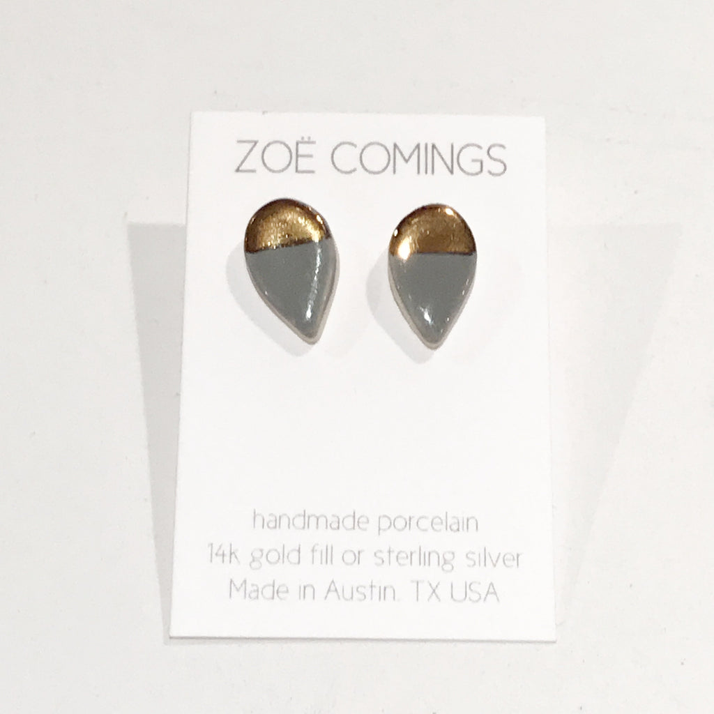 Dark Grey and Gold Large Petal Studs