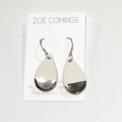 White and White Gold Teardrop Earrings
