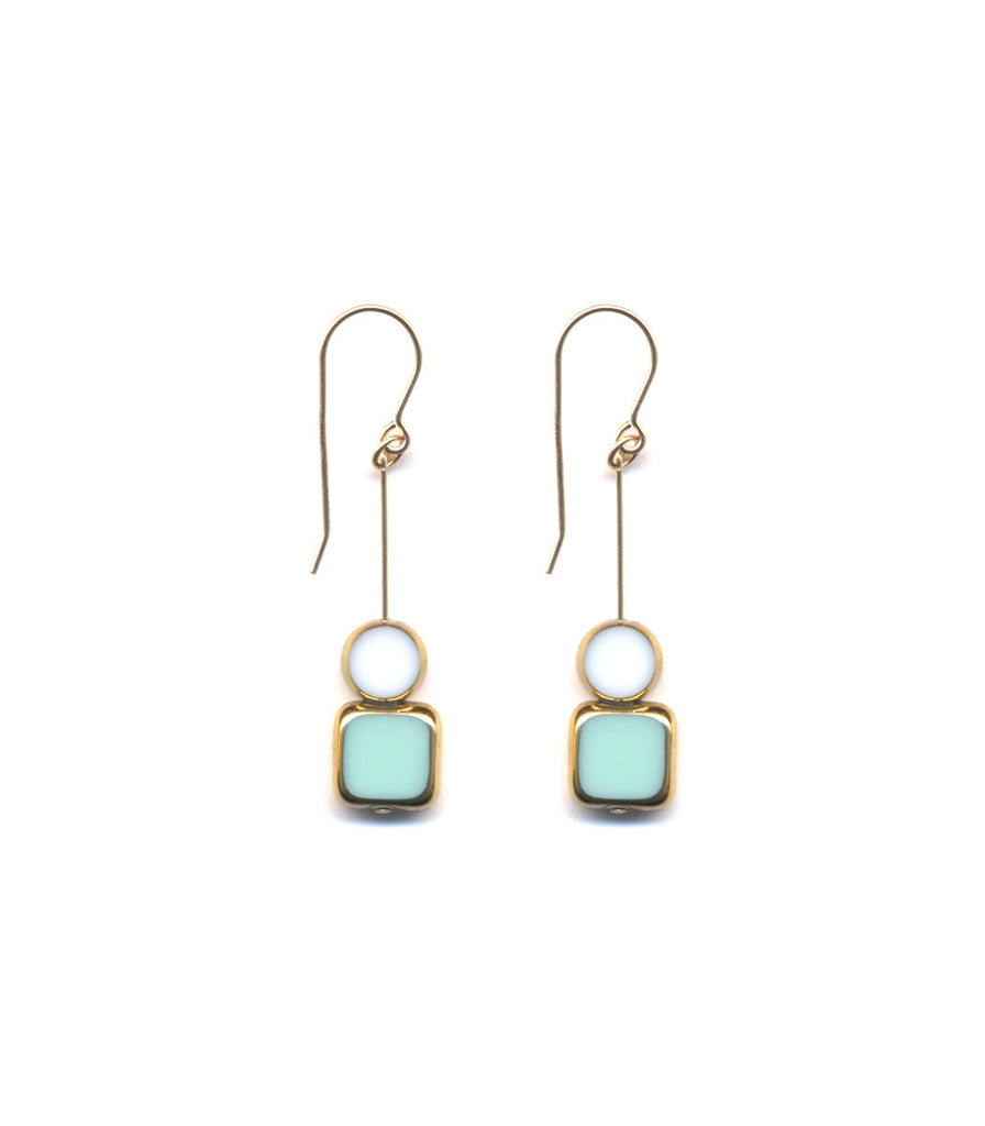 Aqua/White and 24k Drop Earrings