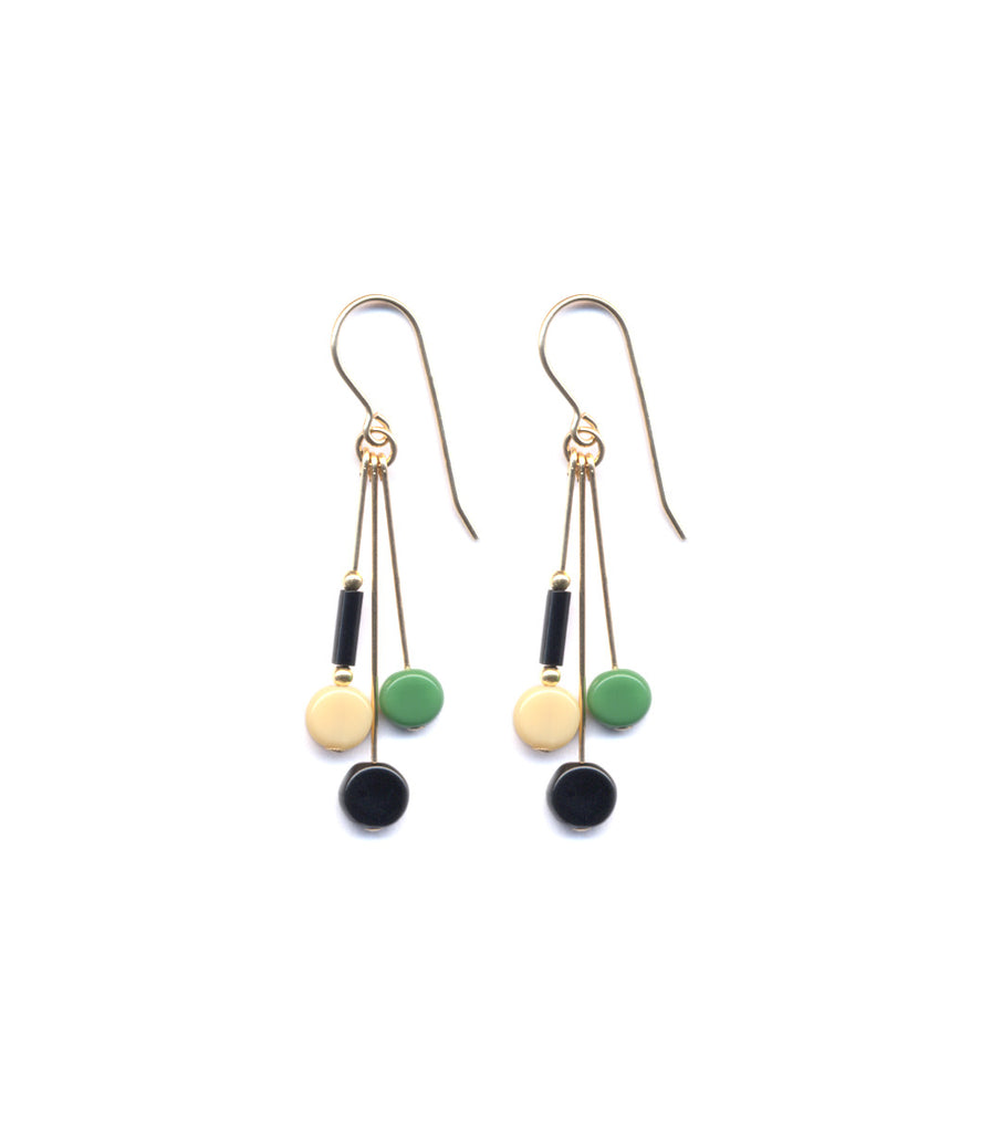 Multi Tablet Green/Black Earrings