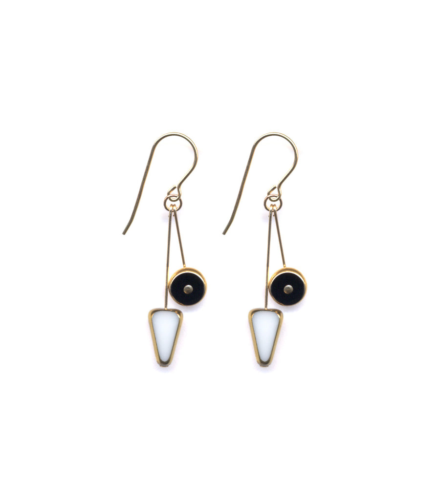 White Arrow/Black Wheel Earrings
