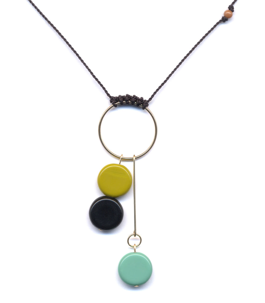 Roped Hoop with Circles Necklace