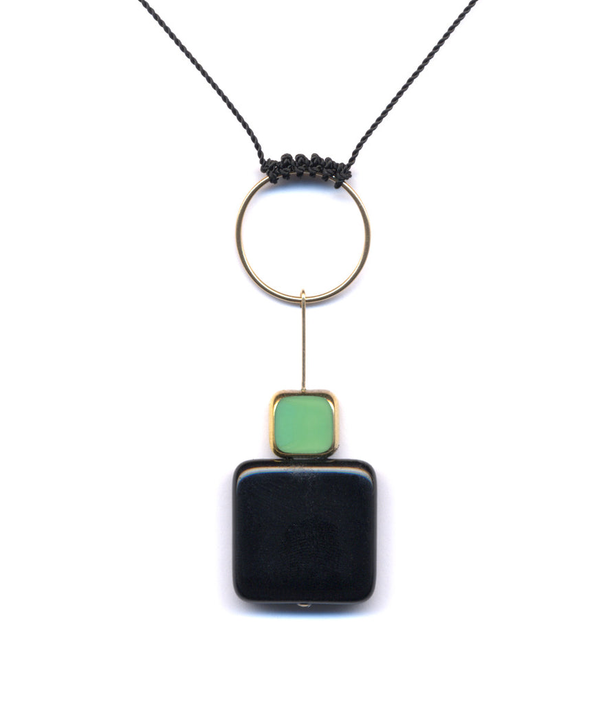 Roped Hoop with Squares Necklace