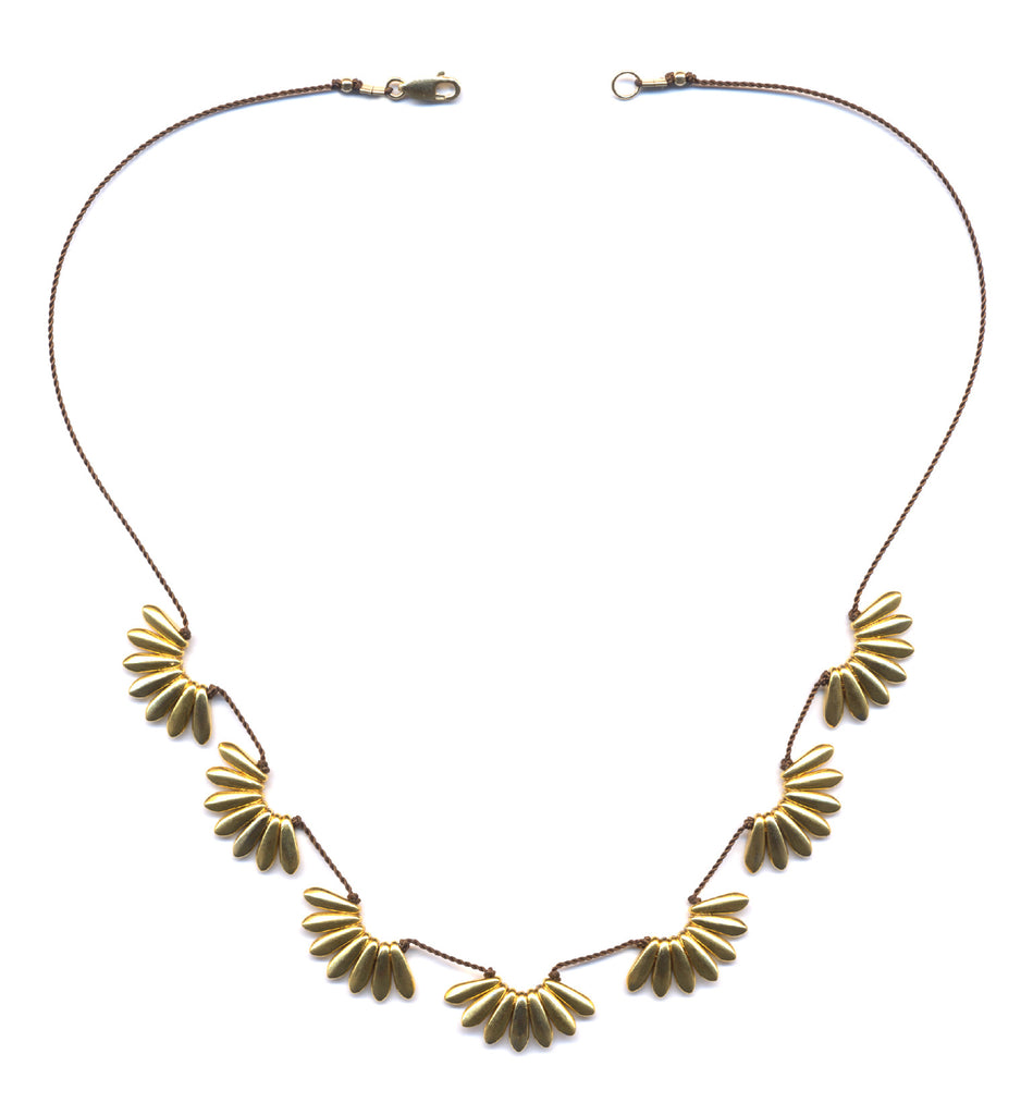 Gold Sweeps Deco Glass Necklace