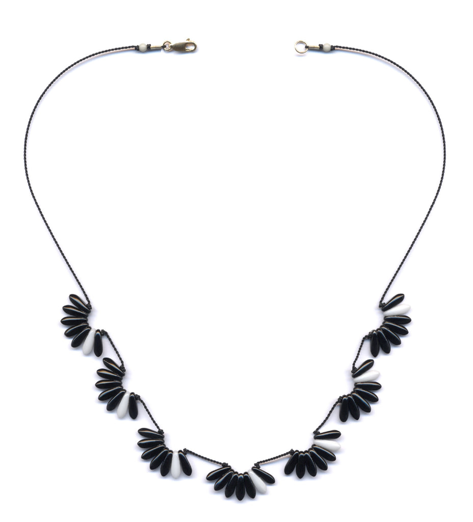 Black/White Sweeps Deco Glass Necklace