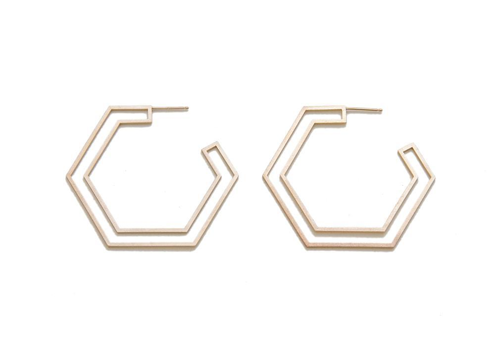 Gold Double Hex Studs
