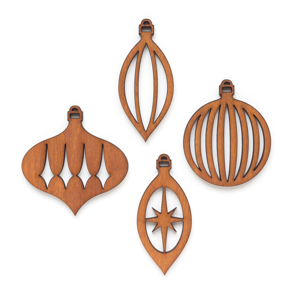 Retro Wood Ornaments- Set of 4