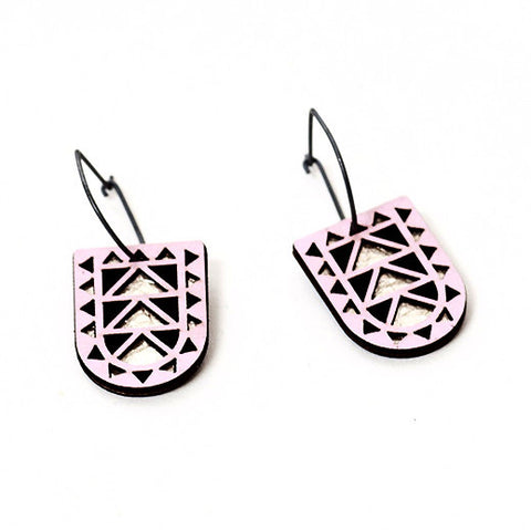 Pink Wood Portal Earrings