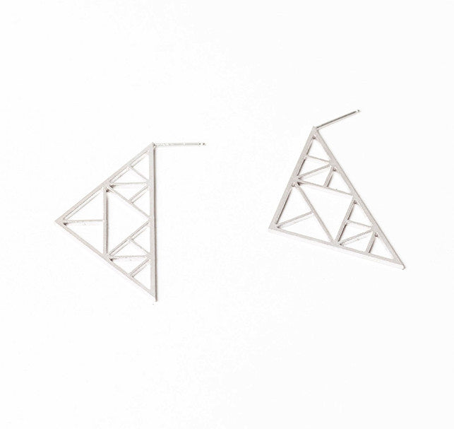 Rhodium Point Earrings