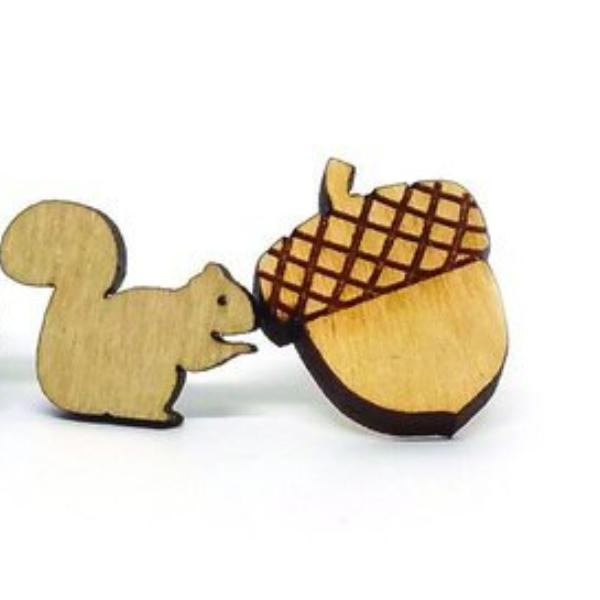 Squirrel and Nut Stud Earrings