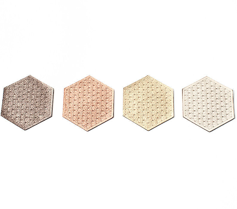 Hexagon Leather Coasters