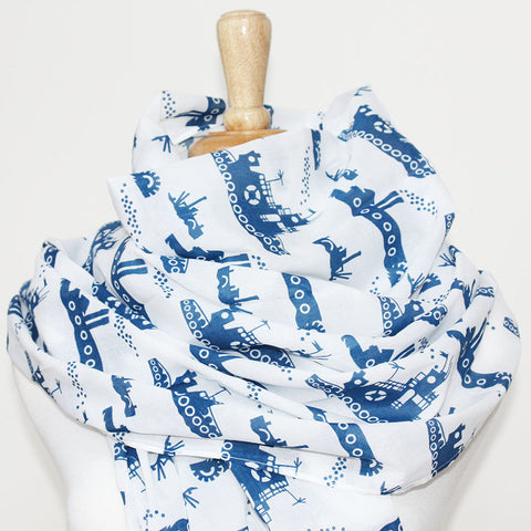 Scarf - Organic Cotton - Tugboats