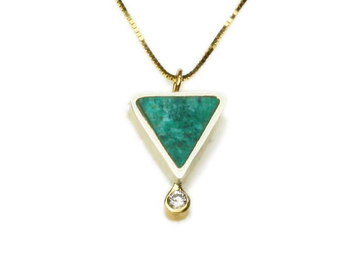 Geo Triangle Chrysocolla/Diamond Necklace