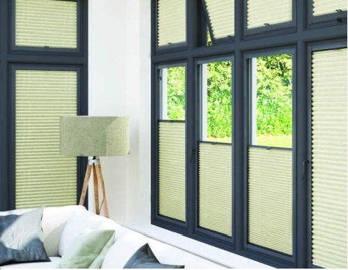 Anthracite Perfect Fit Blinds Hive Range Silkweave Elephant - Conservatory Blinds Direct