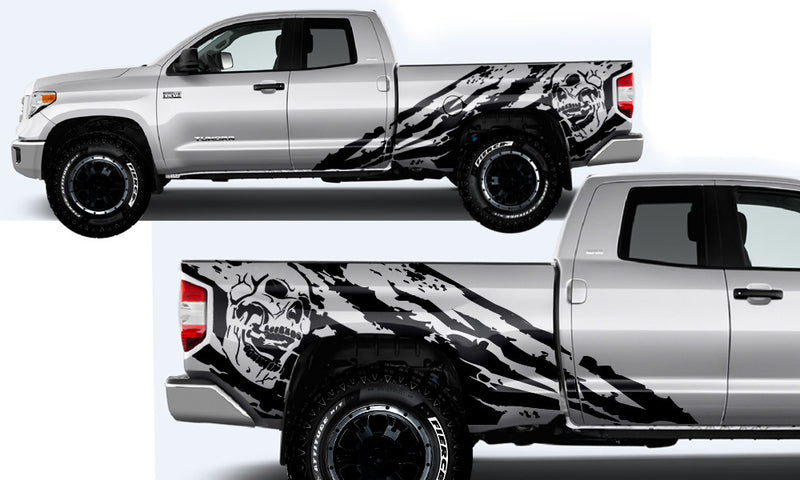 Toyota Tundra TRD Truck Vinyl Decal Graphics Custom Black Skull Design
