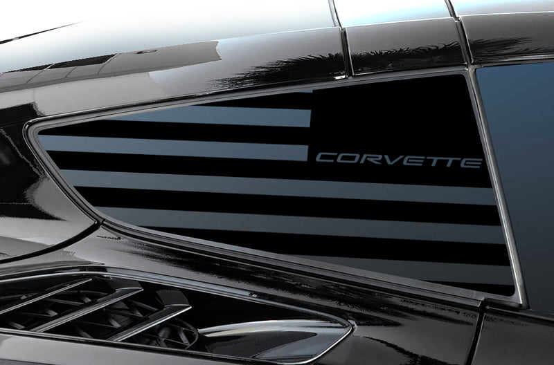 Chevrolet Corvette (2014-2019) Rear Window Vinyl Decal Wrap Kit - Corvette Flag